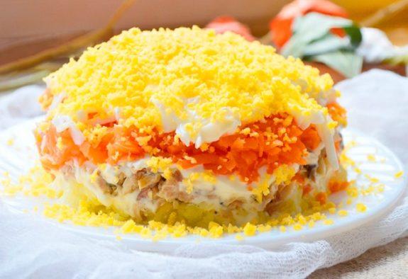 Салат Мимоза классический с сыром
